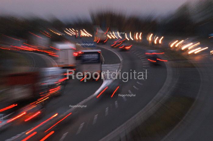 Motorway traffic at dusk , Bristol - Paul Box - 2003-11-01