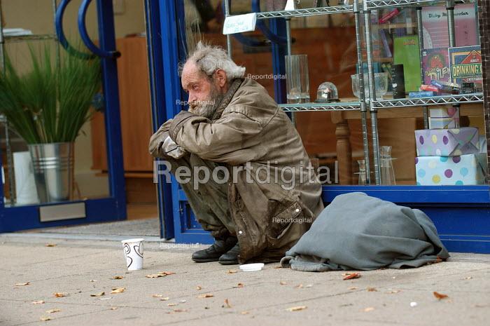 A homeless man in a shop doorway. Clifton Bristol - Paul Box - 2003-10-10
