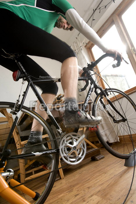 A man training in preparation, for cycling. - Paul Box - 2006-03-07