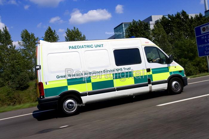 Great Western Ambulance Service, Paediatric unit, on the M4 motorway. - Paul Box - 2009-10-04