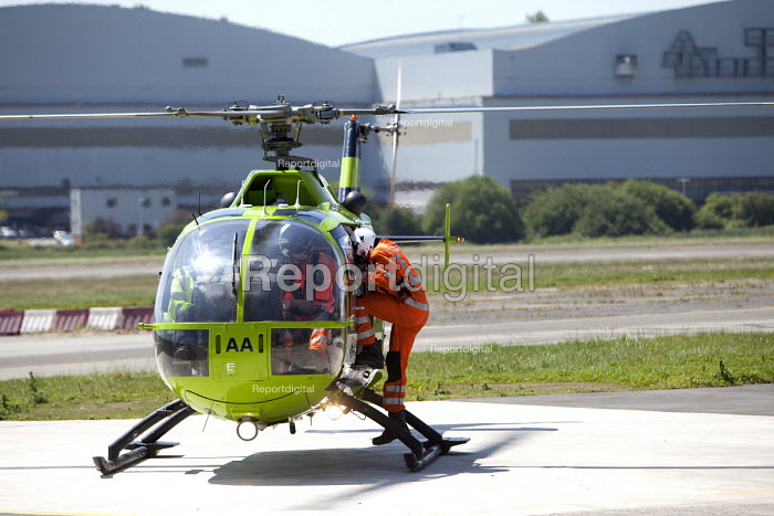 Great Western Air Ambulance service (GWAA) MBB Bo 105 Bolkow helicopter on the helipad, Bristol Filton Airport. - Paul Box - 2011-06-06