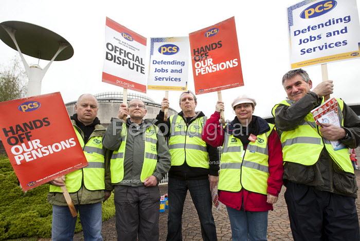 PCS pensions picket at MOD headquarters for procurement, Abbey Wood, Bristol. - Paul Box - 2012-05-10