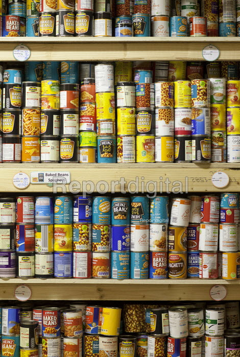 Shelves of tinned food donated to the Cardiff Foodbank, part of the Trussell Trust and the National Foodbank Network, which is set up to help and support those suffering hardship. - Paul Box - 2012-05-10