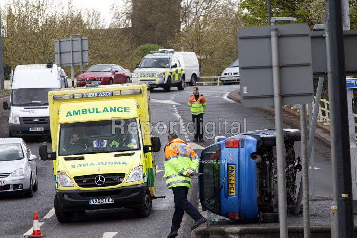 Car crashes on the slip road of the M32, Bristol. - Paul Box - 2012-04-18