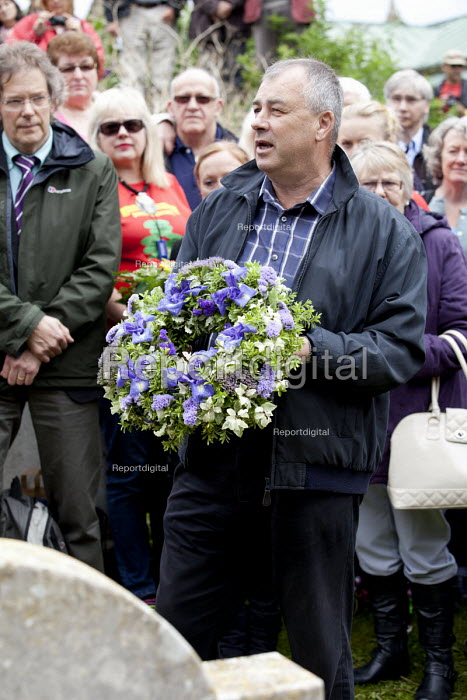 Wreaths are placed on the grave of James Hammett one of the Tolpuddle Martyrs at The Tolpuddle Martyrs festival, Tolpuddle - Paul Box - 2012-07-15
