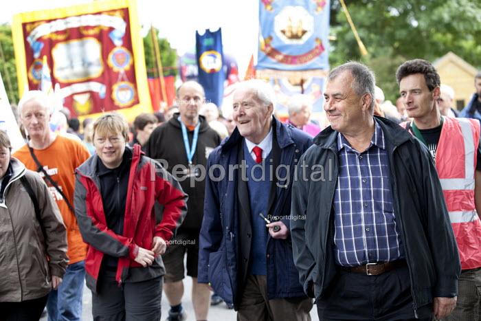 Tony Benn and Brendan Barber, at Tolpuddle Martys at The Tolpuddle Martyrs festival, Tolpuddle - Paul Box - 2012-07-15