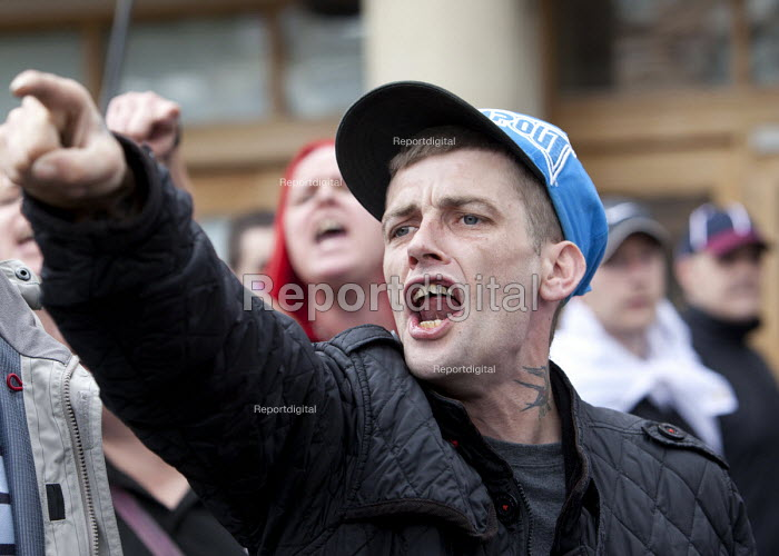 EDL protester at English Defence League protest in Bristol. - Paul Box - 2012-07-14