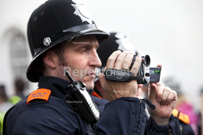 Police film protesters at English Defence League protest in Bristol. - Paul Box - 2012-07-14