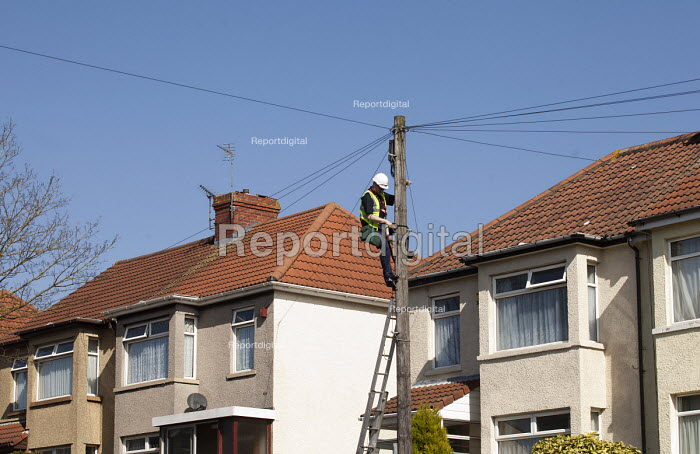 A BT Engineer up a telegraph pole in Bristol. - Paul Box - 2012-03-28