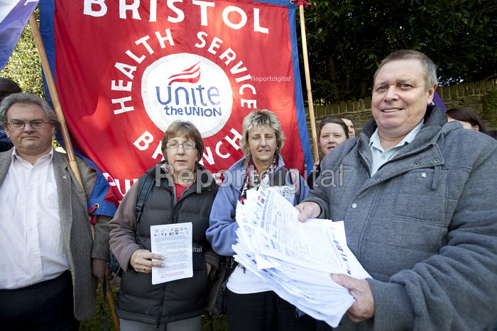 Colin Puckett, joint Union committe. Health trade union members in Bristol protest against the South West Pay, Terms and Conditions Consortium at North Bristol NHS Trust board meeting at Frenchay Hospital trust headquarters. With a petition signed by over 2000 North Bristol NHS Trust staff calling on the trust to withdraw from the consortium. - Paul Box - 2012-09-27