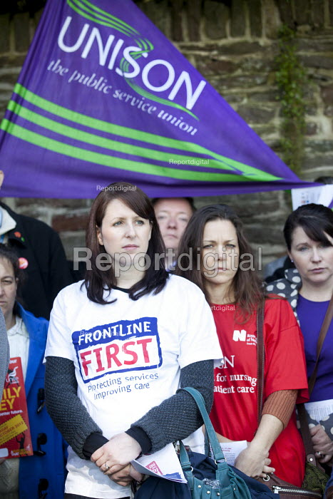 Health trade union members in Bristol protest against the South West Pay, Terms and Conditions Consortium at North Bristol NHS Trust board meeting at Frenchay Hospital trust headquarters. With a petition signed by over 2000 North Bristol NHS Trust staff calling on the trust to withdraw from the consortium. - Paul Box - 2012-09-27