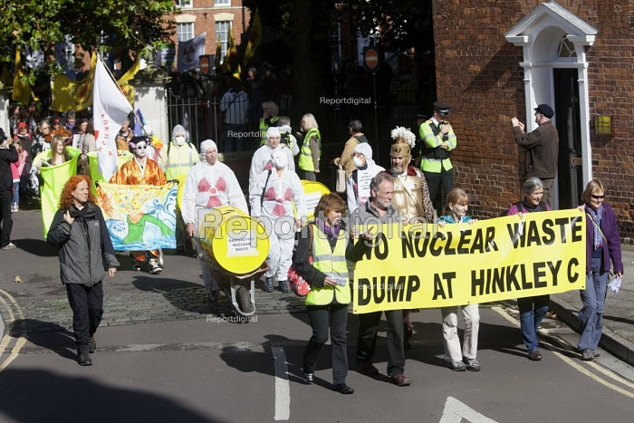 Stop new nuclear protesters march through Bridgwater to protest at plans for EDF Energy to build a new nuclear reactor at Hinkley point, Hinkley C power plant Somerset. And against plans to store nuclear waste on the site. - Paul Box - 2012-10-06