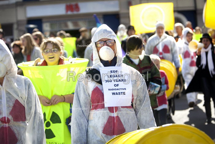Stop new nuclear protesters march through Bridgwater to protest about EDF Energy's plans to build a new nuclear reactor at Hinkley point, Hinkley C power plant Somerset. And also to protest about plans to store nuclear waste on the site. - Paul Box - 2012-10-06