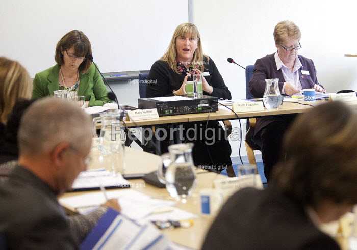 Ruth FitzJohn chair of The Board of NHS Gloucestershire attending an extraordinary meeting to decide whether Gloucestershire community health services will be run by an NHS Trust, or opened up to bids from the private sector.They unanimously voted for the NHS Trust. - Paul Box - 2012-10-15