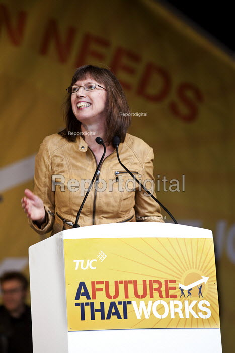 Frances O'Grady TUC speaking, A Future That Works. March and rally organised by the TUC to protest against the government austerity policies and to call for an alternative economic strategy that puts jobs, growth and people first. London. - Paul Box - 2012-10-20