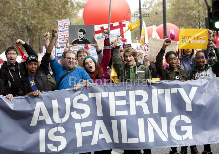 Austerity is failing. A Future That Works. March and rally organised by the TUC to protest against the government austerity policies and to call for an alternative economic strategy that puts jobs, growth and people first. London. - Paul Box - 2012-10-20