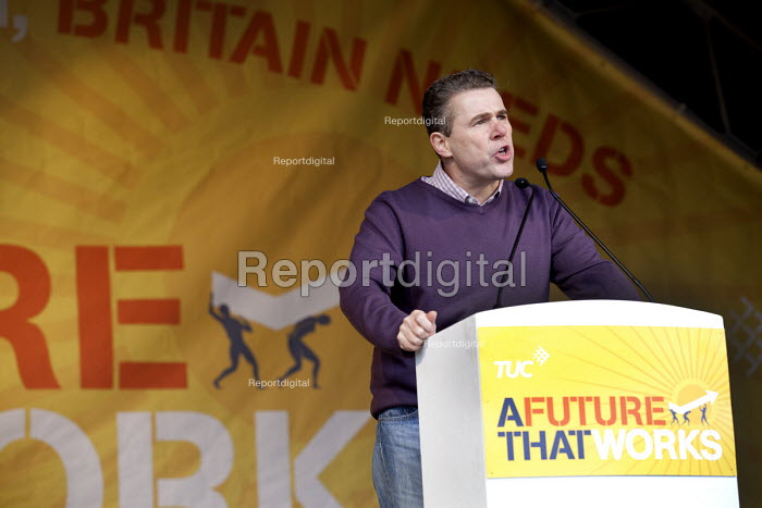 Mark Serwotka PCS speaking, A Future That Works. March and rally organised by the TUC to protest against the government austerity policies and to call for an alternative economic strategy that puts jobs, growth and people first. London. - Paul Box - 2012-10-20