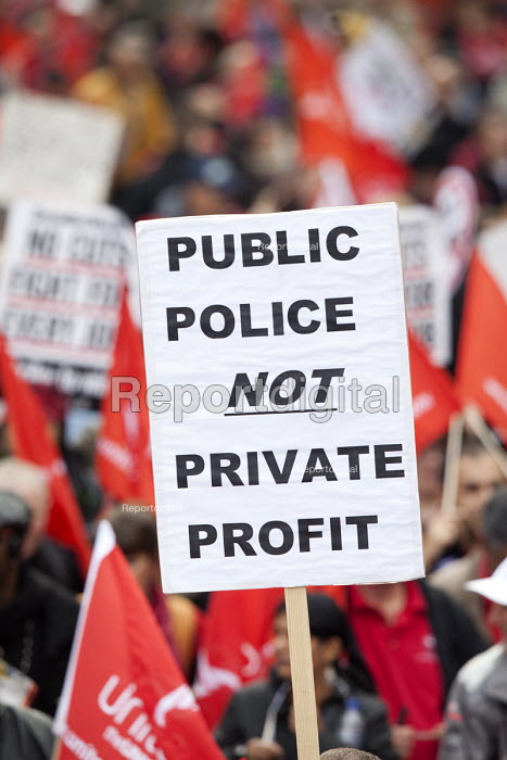 Public Police not Private Profit. A Future That Works. March and rally organised by the TUC to protest against the government austerity policies and to call for an alternative economic strategy that puts jobs, growth and people first. London. - Paul Box - 2012-10-20