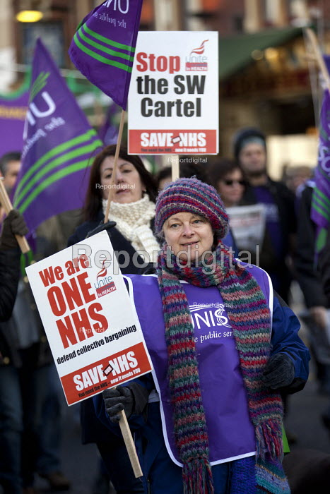 Protest to save the NHS as the 20 trusts in the South West cartel are to reduce pay, terms and conditions. Bristol - Paul Box - 2012-12-01