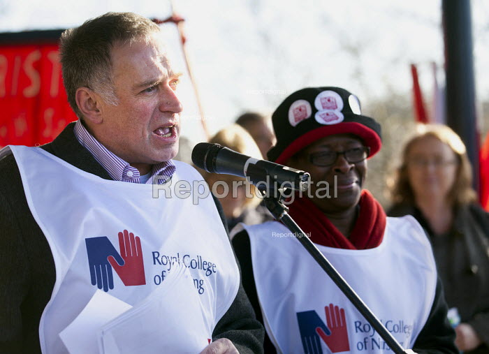 Tom Sandford - Director, RCN speaking. Protest to save the NHS as the 20 trusts in the South West cartel are to reduce pay, terms and conditions. Bristol - Paul Box - 2012-12-01