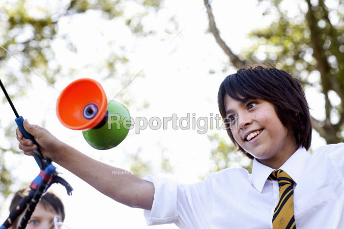 Pupil playing with a diabolo, Clevedon school, Clevedon - Paul Box - 2011-09-14