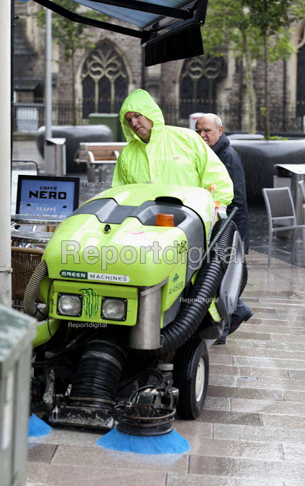 Council workers in Cardiff city centre clean the streets, Wales - Paul Box - 2012-07-06