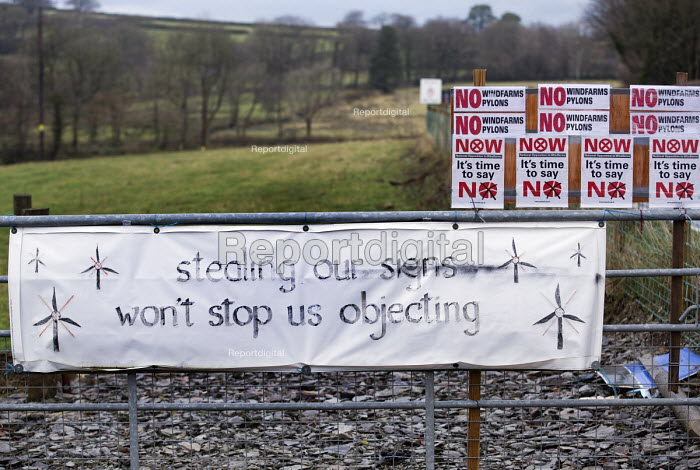 Roadside Anti wind farm posters in the countryside, North Wales. - Paul Box - 2012-11-26