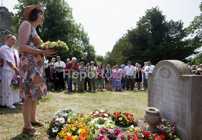 Frances OGrady TUC Gen Sec lays a wreath at the grave of James Hammett one of the Tolpuddle Martyrs. Tolpuddle Martyrs Festival. Tolpuddle - Paul Box - 2013-07-21