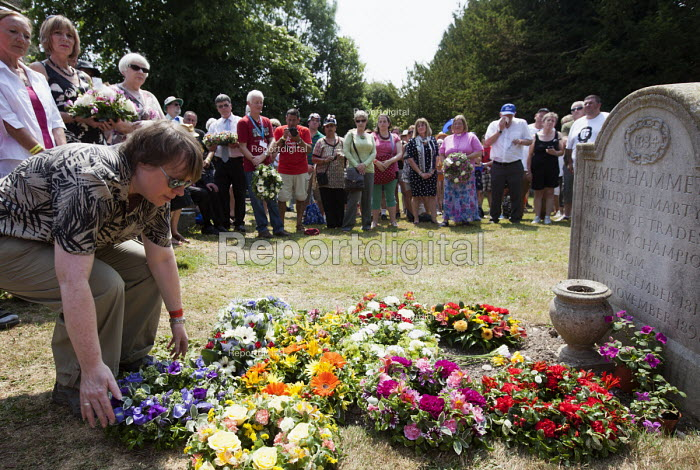 Wreaths are laid at the grave of James Hammett one of the Tolpuddle Martyrs. Tolpuddle Martyrs Festival. Tolpuddle - Paul Box - 2013-07-21