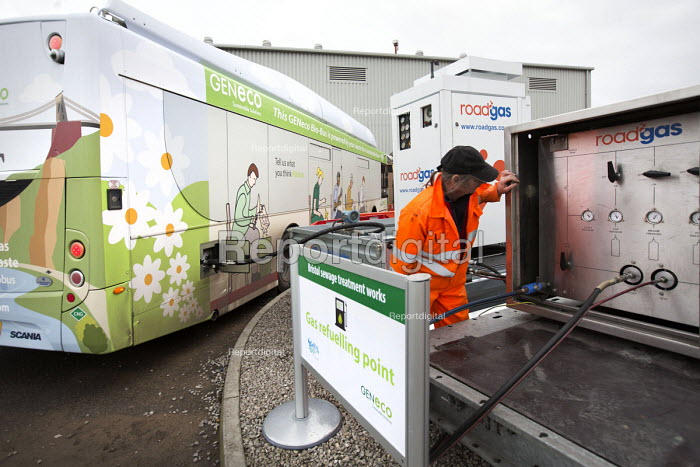 A worker filling up the bus with roadgas. The UKs first bus powered entirely by human and food waste, in service between Bristol and Bath. The 40-seat Bio-Bus runs on biomethane gas generated through the treatment of sewage and food waste. It is nown locally as the Poo bus! It is run by the Bath Bus Company The biomethane gas is generated at Bristol sewage treatment works in Avonmouth, which is run by GENeco, a subsidiary of Wessex Water. - Paul Box - 2014-12-16