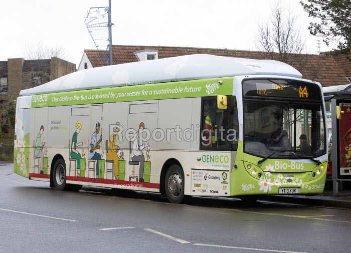 The UKs first bus powered entirely by human and food waste, in service between Bristol and Bath. The 40-seat Bio-Bus runs on biomethane gas generated through the treatment of sewage and food waste. It is nown locally as the Poo bus! It is run by the Bath Bus Company The biomethane gas is generated at Bristol sewage treatment works in Avonmouth, which is run by GENeco, a subsidiary of Wessex Water. - Paul Box - 2014-12-17