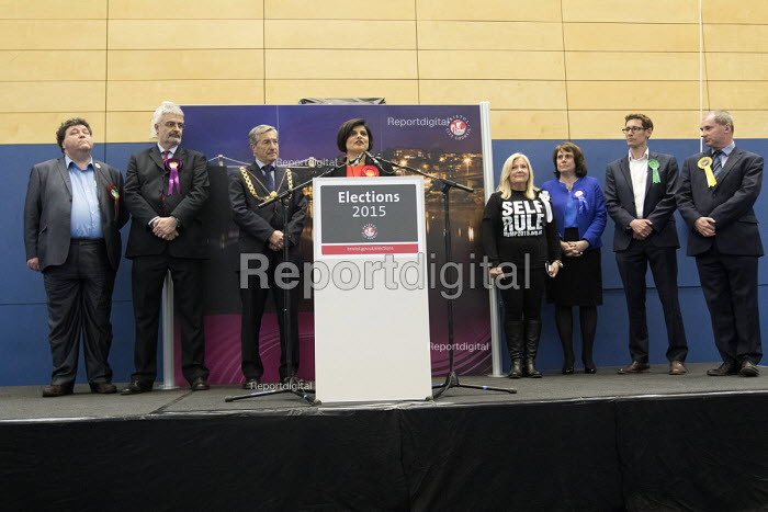 Thangam Debbonaire Labour Candidate wins, with Darren Hall, Green Party second and Stephen Williams the Liberal Democrats coming third. Bristol West General Election count result, Bristol. - Paul Box - 2015-05-08