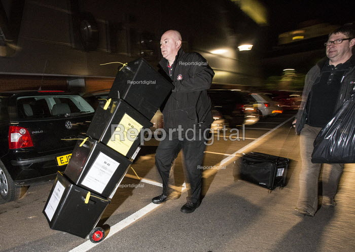 Ballot boxes arriving at the count. Bristol West General Election count, Bristol. - Paul Box - 2015-05-07