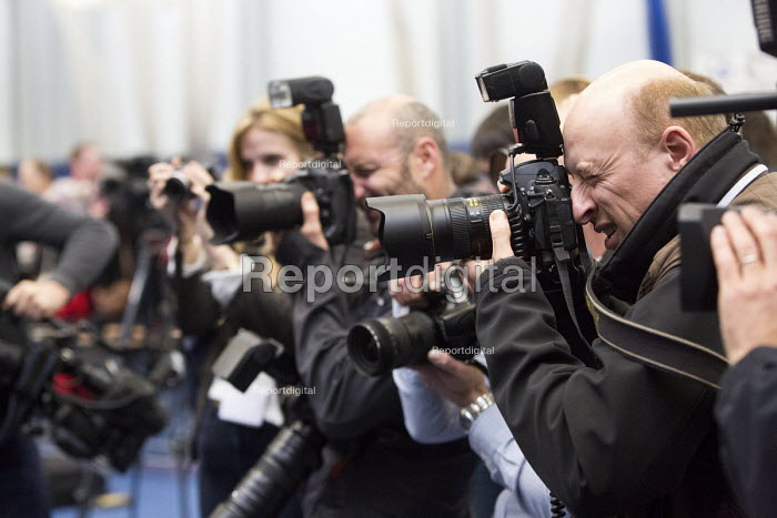Press photographers, Bristol West General Election count at City Academy, St George, Bristol. - Paul Box - 2015-05-08