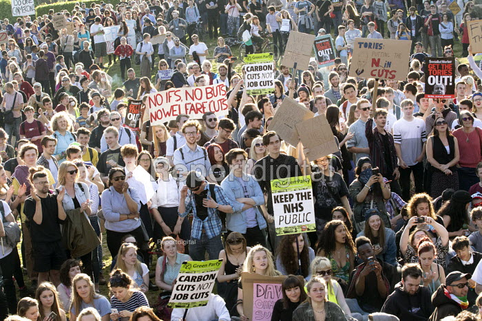 Anti-austerity protest organised by a group of seven teenagers on social media. Bristol. - Paul Box - 2015-05-13