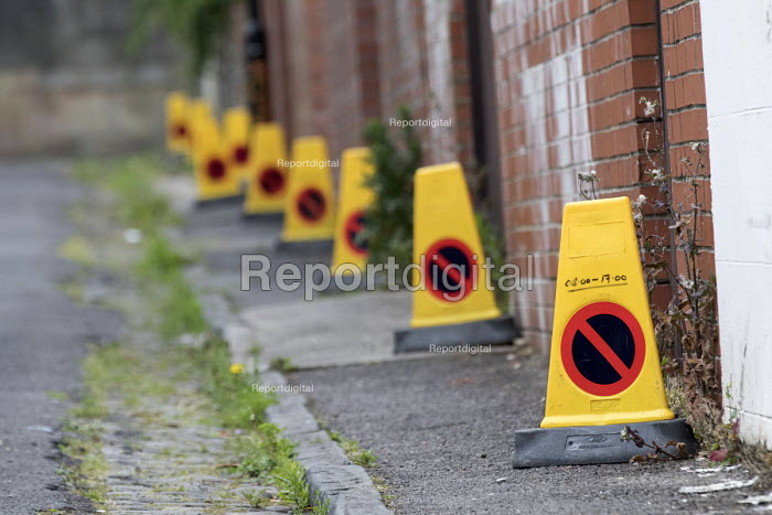 Residents protesting at new resident parking scheme, St Pauls, Bristol. No parking cones on the street - Paul Box - 2015-06-17