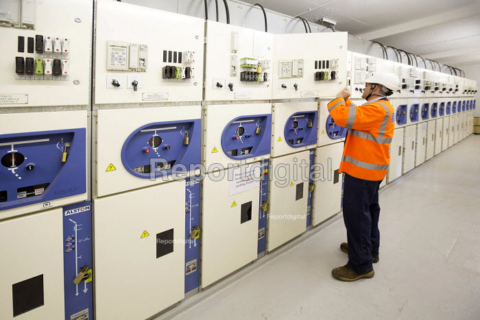Electrical engineers in a control room, substation, Clifton, Bristol - Paul Box - 2015-06-23