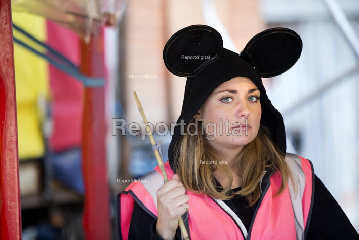 Dismaland a parody of Disneyland theme park by Banksy, Weston Super Mare. A Bemusement Park staffed by morose Dismaland guides who are uninterested in being helpful or remotely informative - Paul Box - 2015-08-27
