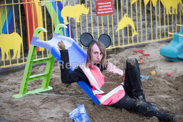 Dismaland a parody of Disneyland theme park by Banksy, Weston Super Mare. A Bemusement Park staffed by morose Dismaland guides who are uninterested in being helpful or remotely informative. Playground - Paul Box - 2015-08-27