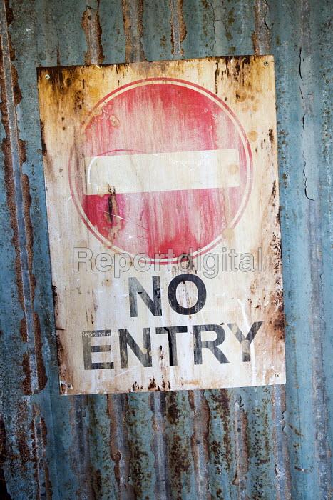 Dismaland a parody of Disneyland theme park by Banksy, Weston Super Mare. No Entry sign Bemusement Park. - Paul Box - 2015-08-27