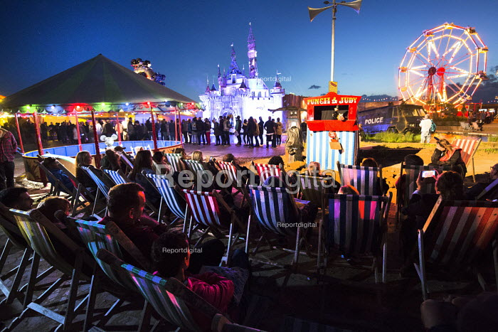 Dismaland a parody of Disneyland theme park by Banksy, Weston Super Mare. Jimmy Savile, Fifty Sades of Grey themed Punch and Judy by Julie Burchill at the Bemusement Park. - Paul Box - 2015-08-27