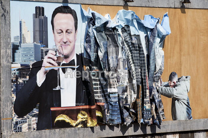 David Cameron by Peter Kennard and Cat Phillips at the Bemusement Park Dismaland a parody of Disneyland theme park by Banksy, Weston Super Mare. - Paul Box - 2015-09-07