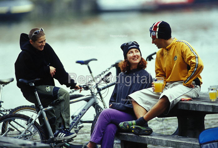 Mountain bikers having a rest and a talking. - Paul Box - 2003-05-18