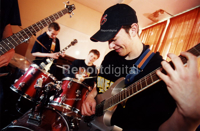 Pupils playing in a band. Nailsea Community School Bristol. - Paul Box - 2002-06-15