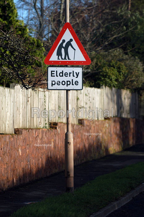 An elderly persons crossing warning road sign, Minehead. - Paul Box, pb40268.jpg