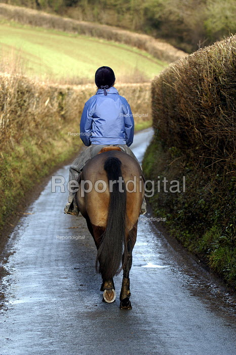 A horse rider on country road near Bristol - Paul Box - 2004-01-10