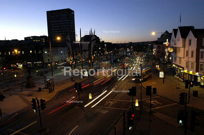 Bristol center at dusk. - Paul Box - 2003-11-28