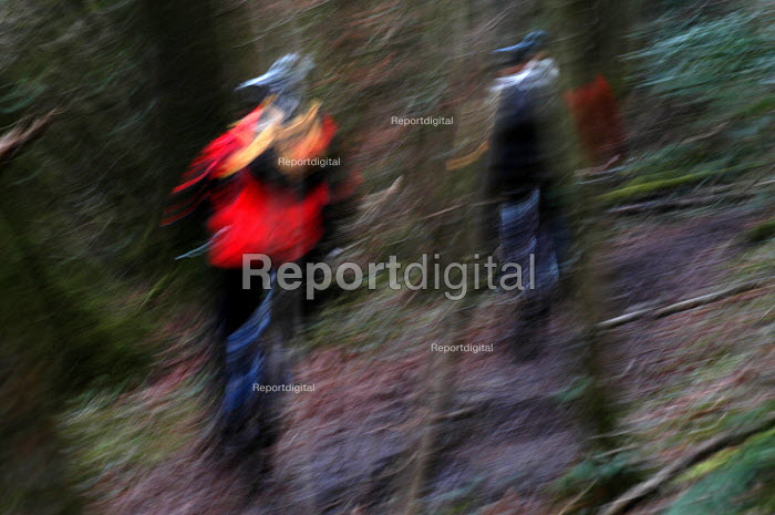 Abstarct of mountainbikers riding in the woods , Bristol - Paul Box - 2004-02-02
