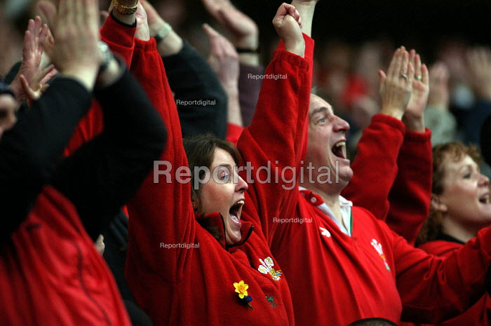 Welsh rugby fans celebrate winning against Scotland in the 5 nations rugby union tournament at the Millennium Stadium Cardiff, Wales - Paul Box - 2004-02-14
