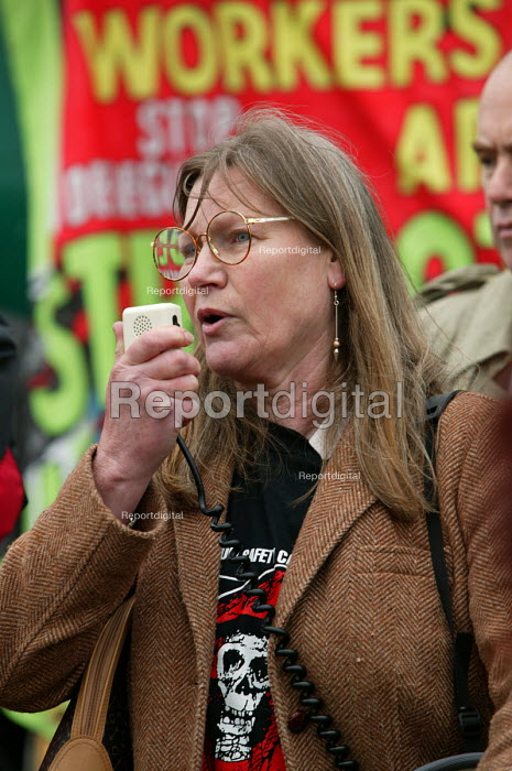 Rose Dunn Chairwoman Construction Safety Campaign speaking at Workers Memorial Day protest at deaths in the construction industry. Wembley London. Organised by the Construction Safety Campaign with the trades unions. - Paul Box - 2004-04-28